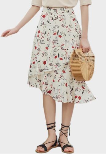 Shopsfashion white Floral Wrapped Midi Skirt A6C33AA2896C8CGS_1