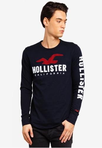 Hollister 黑色 長袖LOGO刺繡T恤 02A16AA7B2A6D2GS_1