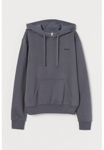 H&M grey Hooded top DA337AA27104BEGS_1