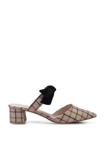 Kimmijim beige Roseanne Pointed Toe Mules Block Heels 2A4CASH0E0B918GS_1