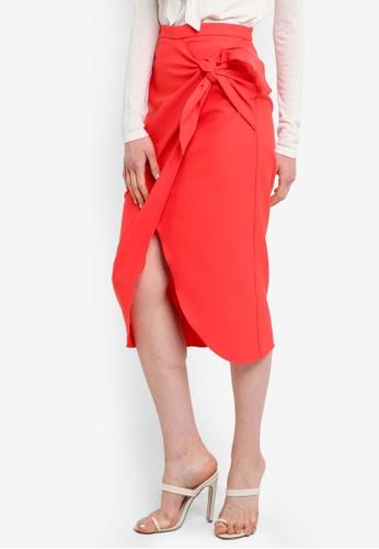 River Island pink and orange Wren Twist Front Pencil Skirt EEE51AAFDA2A6AGS_1