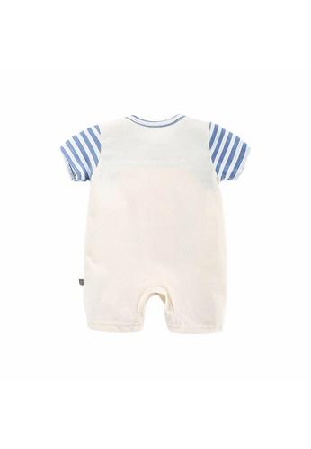 Little Kooma white Baby Boy Fake Two Piece Suspender Dinosaur Romper White 71A14KA7B82091GS_1