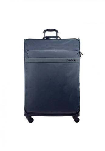 "Calvin Klein grey and blue Calvin Klein Flatiron  24"" 4 wheels Soft Case Luggage - Orion Grey CA221AC16PXJSG_1"