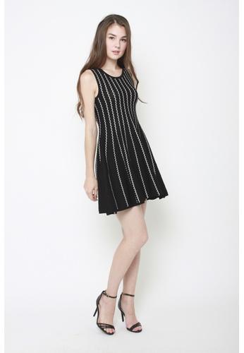 Sophialuv black and white Get in Line Sleeveless Knit Dress 9F0ADAA41DA387GS_1