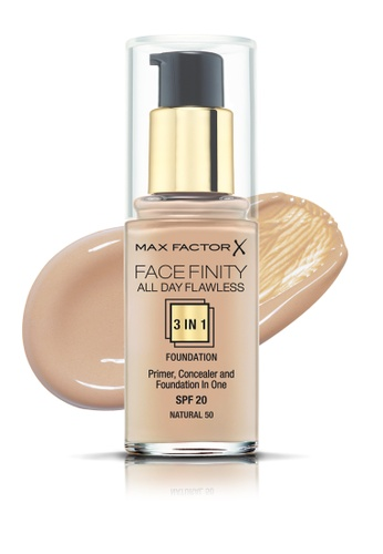 Max Factor beige Max Factor Face Finity All Day Flawless 3 In 1 SPF 20 Foundation, 30ml, 50 Natural D2BFDBE61C2ABAGS_1