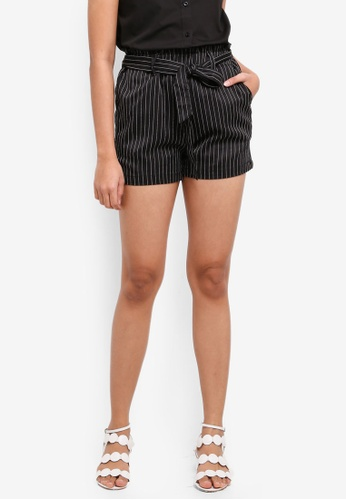 Penshoppe black Striped Fashion Shorts With Self-Fabric Belt 5F4BDAA7FA7EF5GS_1