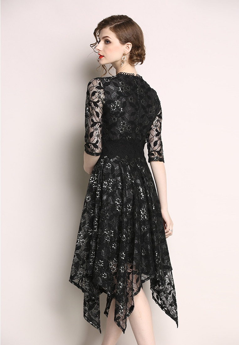A060814BK New 2018 Black Piece Patterned Sunnydaysweety Black One Flower Dress 0C1Cwgqd