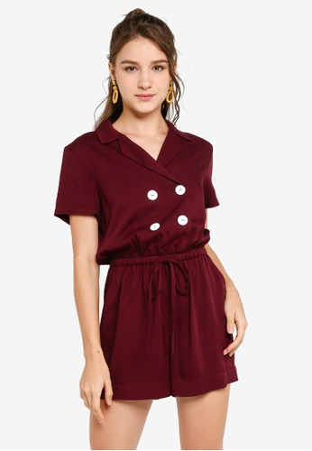 ZALORA YOUNG red Double Breasted Drawstring Playsuit 0C286AAAFADA85GS_1