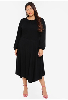 c5ece6346 LOST INK PLUS black Plus Size Fit And Flare Dress With Asym  F93A8AA8B493F5GS_1