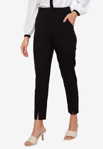 ZALORA WORK black Front Slit Pants B1F6EAA04B8AF6GS_1