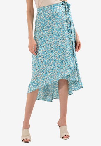 LC Waikiki 藍色 花卉縲縈 Skirt 93B46AA38CCC2AGS_1