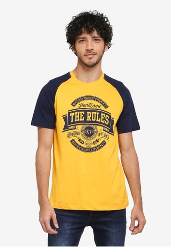 Fidelio yellow The Rules Contrasted Sleeves Graphic T-Shirt DDA28AA02DA9B5GS_1