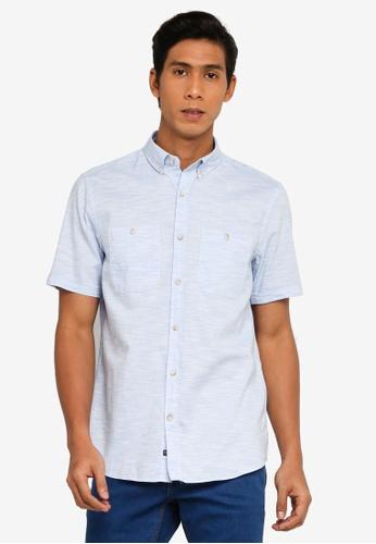 LC Waikiki blue Regular Fit Short Sleeve Textured Shirt 7041CAAC4EC2E3GS_1