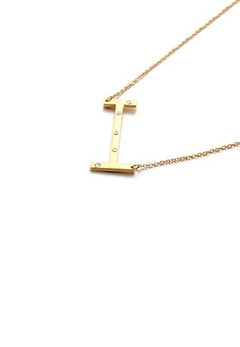 Glamorousky 白色 简约个性镀金色英文字母I 316L钢吊坠配锆石及项链 0A19EACBF6E65FGS_1