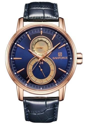 Naviforce blue Naviforce - Jam Tangan Pria - Rosegold - Blue Leather Strap - NF3005-E 2574FACAB63079GS_1