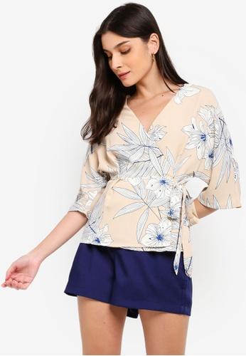 ZALORA multi and beige Kimono Wrap Top B2BEDAACCFA7F0GS_1