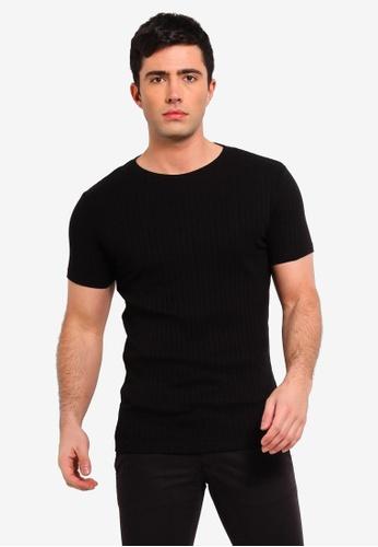 Burton Menswear London 黑色 短袖羅紋T恤 AC68DAAD7642DFGS_1
