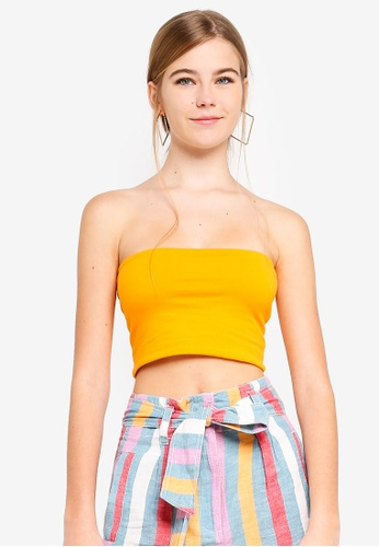 TOPSHOP yellow Petite Jersey Boobtube E32B7AAE73AF1DGS_1