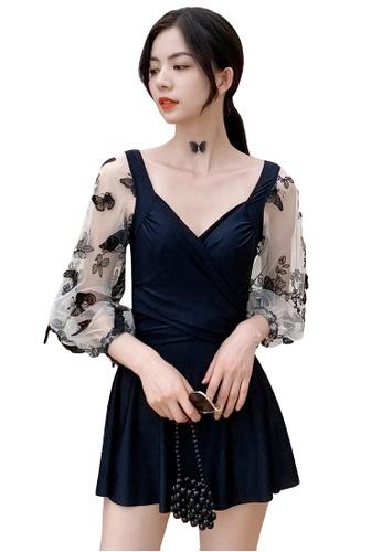A-IN GIRLS black Elegant Gauze Flower One-Piece Swimsuit 97F85US07D4FE2GS_1