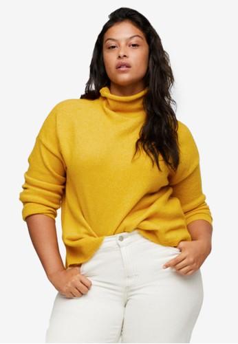 Violeta by MANGO yellow Plus Size Turtleneck Knit Sweater C977DAAD2A3629GS_1