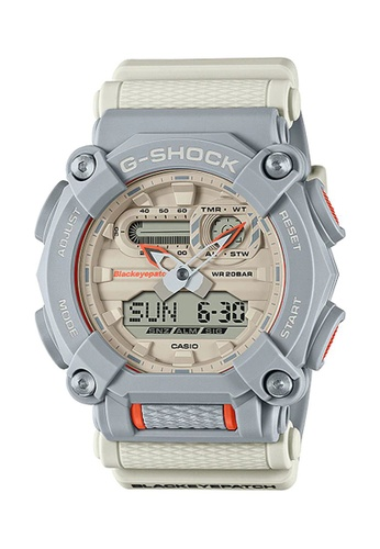G-shock grey and white and orange CASIO G-SHOCK x BLACKEYEPATCH Limited Edition GA-900BEP-8A 360C9AC039C409GS_1