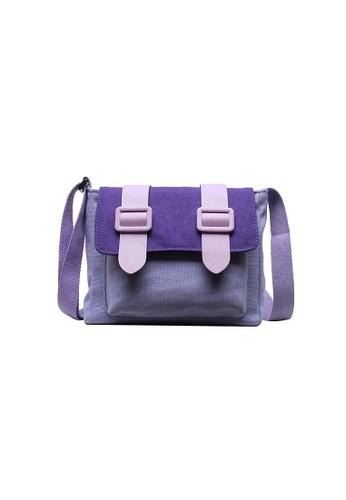 A FRENZ purple Mini Colorblock Canvas Flap Crossbody Bag A34E8ACA9AF575GS_1
