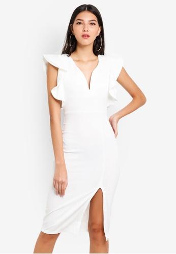 WALG white Plunge Neck Flutter Sleeve Midi Dress 3386EAAB70EC50GS_1
