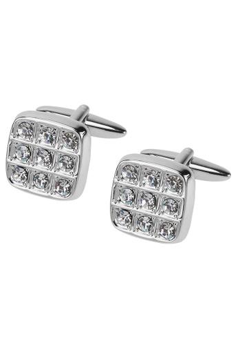 Heredero ciclo Jajaja  Buy CUFF IT Silver Soft Square Swarovski Crystal Cufflinks Online | ZALORA  Malaysia