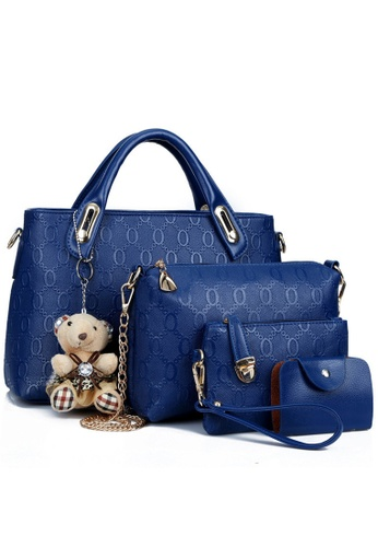Jackbox blue Set of 4 Bear Leather Purse Sling Bag Handbag Tote Bag 908 (Blue) JA762AC88FATMY_1