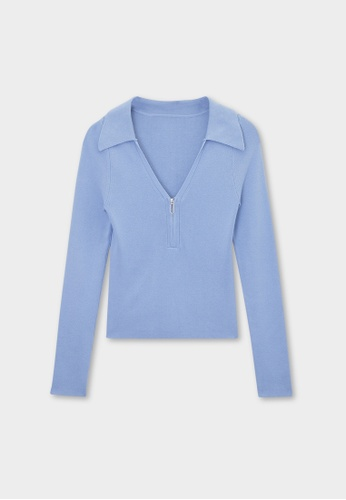 Pomelo blue Ribbed Zip Up Long Sleeve Top - Blue EFB6CAABB50193GS_1