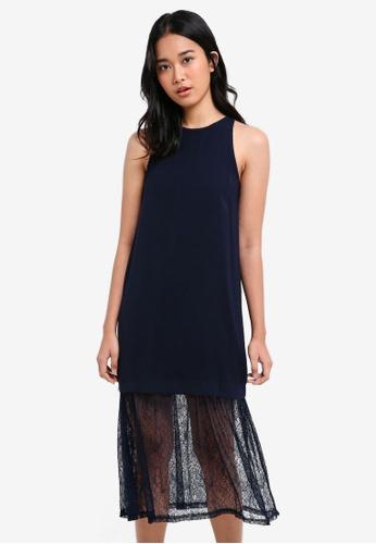 Something Borrowed navy Layered Lace Cut-In Midi Dress 2636DAAB9587D1GS_1
