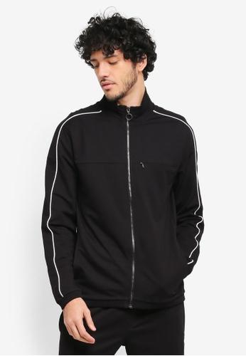 MANGO Man black Contrasting Trims Cotton Sweatshirt MA449AA0T1FKMY_1