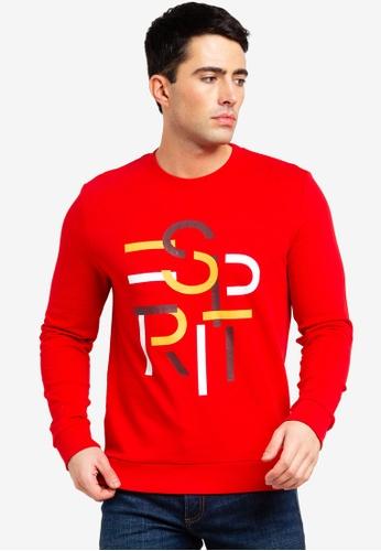 ESPRIT 紅色 長袖棉T 8E4B6AA41520E4GS_1