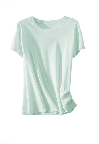Twenty Eight Shoes green VANSA Round Neck Mercerized Cotton Short-sleeved T-Shirt VCW-Ts1902U A4DB2AAD7F6337GS_1