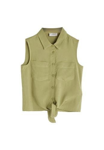 LC Waikiki green Sleeveless Tie Detail Shirt 8B8DEKA7AEF467GS_1