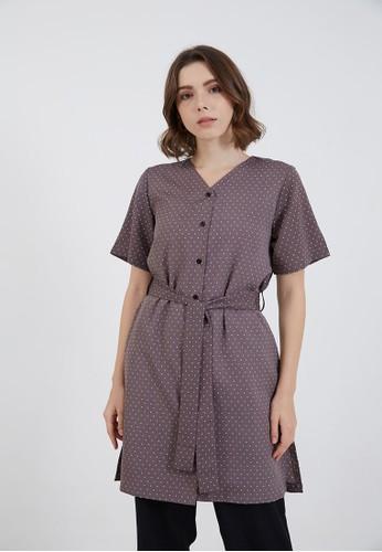 Berrybenka Label grey Jane Puff Sleeve Blouse Grey F3617AABF22AF4GS_1