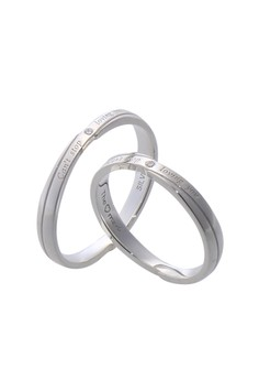 Loving You Silver Couple Ring with Artificial Diamonds lr0008