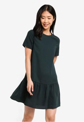 ZALORA BASICS green Basic Short Sleeves Flare Hem Dress 3A7BFAADEBA259GS_1