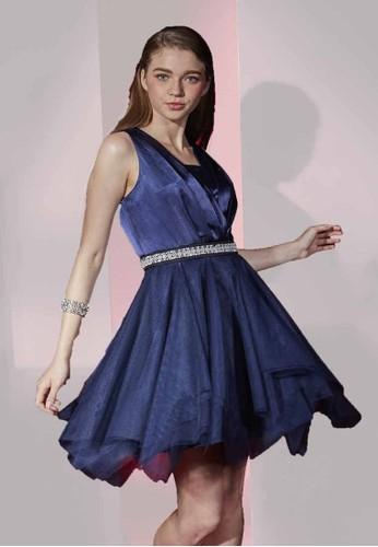 Party系交叉V 領不對稱下擺網紗洋裝, 服飾,esprit outlet 高雄 派對洋裝