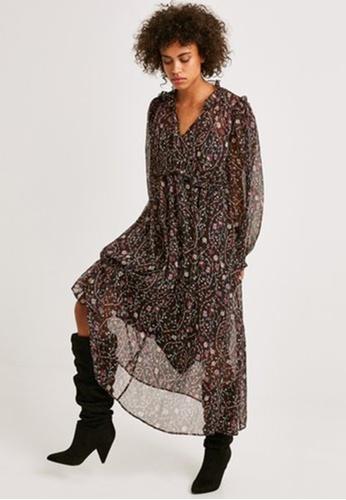 Promod black Long Patterned Dress 87F00AA9091614GS_1