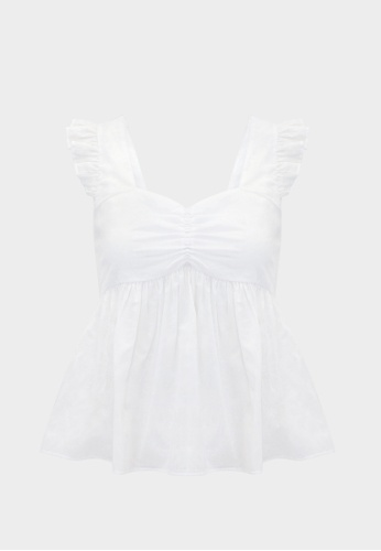 Pomelo white Purpose Sheer Babydoll Floral Tank - White 5C396AAFB97406GS_1