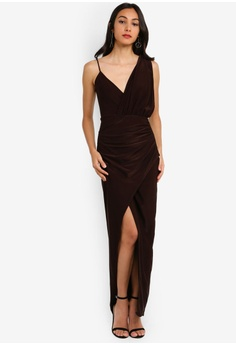 20093c977f031 MISSGUIDED brown Strappy Slinky Wrap Maxi Dress D1B87AA881F432GS 1