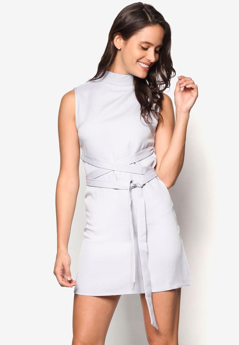 High Neck Tie Waist Shift Dress