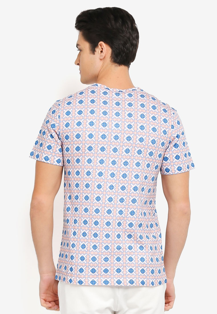 Blue All Rose ZALORA Tessellation Over Print Tee wq4A6w