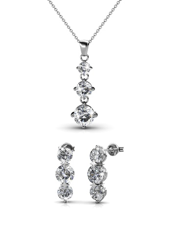 Her Jewellery silver Swarovski® Crystals - Elise Set (18K White Gold Plated) Her Jewellery HE581AC0RDRGMY_1