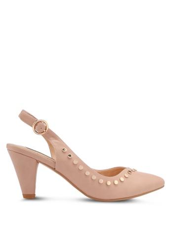 ZALORA beige Side Studded Heels 30ED4SH5D17A28GS_1