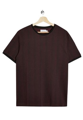 Topman red Burgundy Herringbone T-Shirt A2B85AAB5C8000GS_1