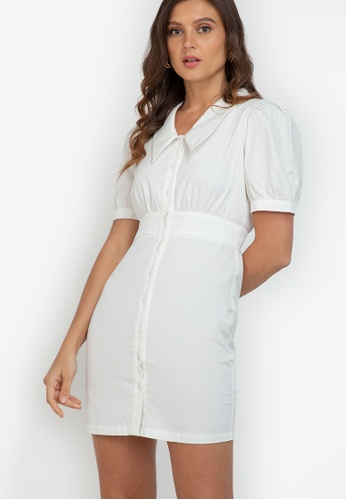 ZALORA WORK white Puff Sleeve Collared Dress F115BAA687B982GS_1