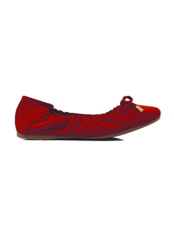 SHINE red Suede Ballet Flats 016C3SHFBADCC4GS_1