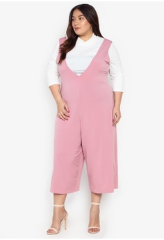 15a0785855298 Ashley Collection Plus pink Plus Size Set Of Two High Neck Top And Culottes  Romper 521E0AAB702E32GS 1